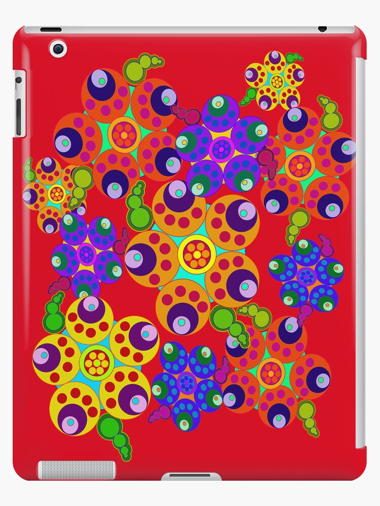 Carnival Colors Flowers on Red iPad Case by CheriesArt