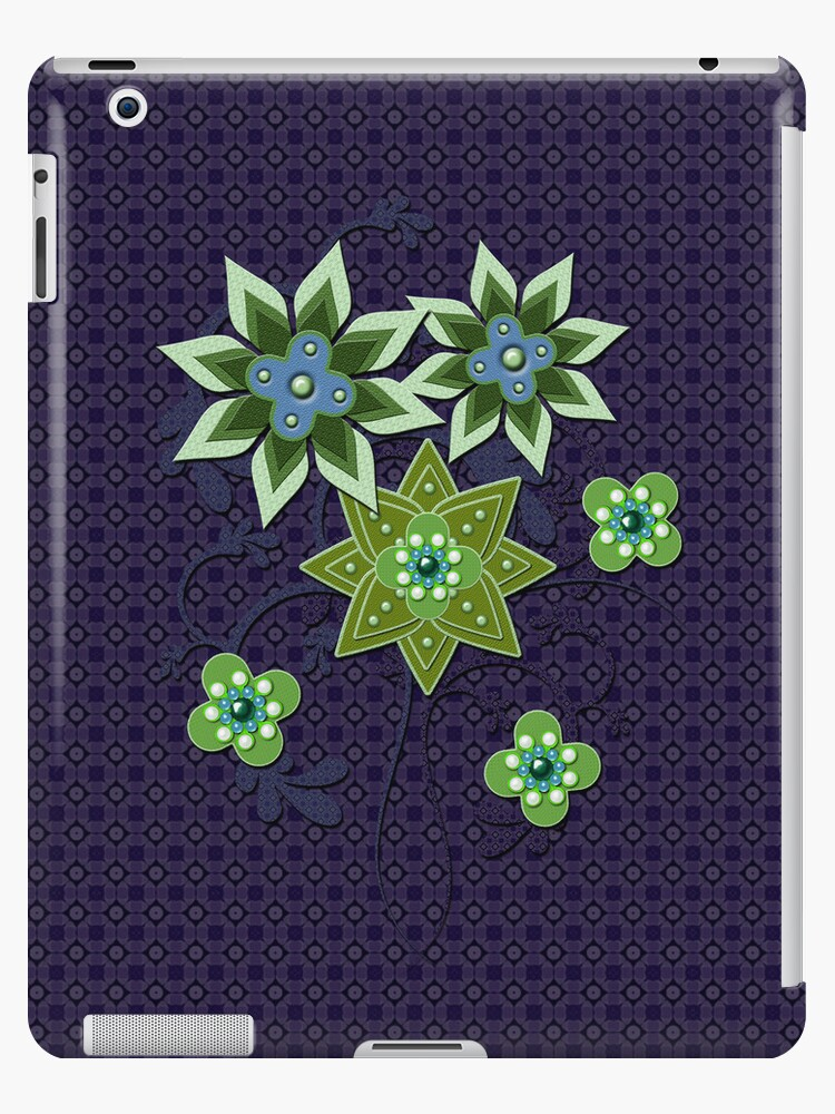 Navy and Green Floral Pattern iPad Case by CheriesArt