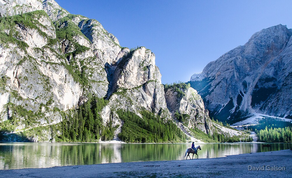 Horse rider Lago di Braies, Italy by David Galson