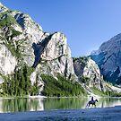 Horse rider Lago di Braies, Italy by David Galson