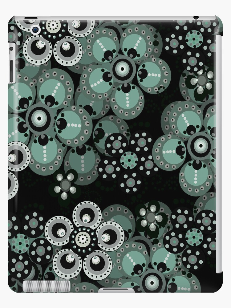 Turquoise, Gray and Black Fantasy Flowers iPad Case by CheriesArt