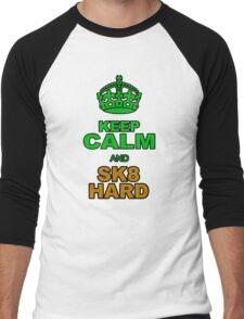 KEEP CLALM AND SK8 HARD Men's Baseball ¾ T-Shirt