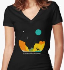YOSEMITE NATIONAL PARK Women's Fitted V-Neck T-Shirt