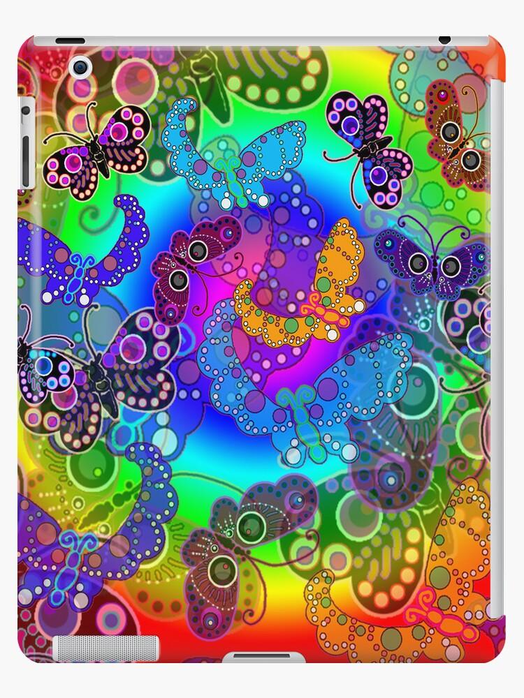 Rainbow Colors Butterflies iPad Case by CheriesArt