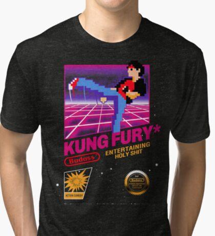 Kung Fu Retro Game Tri-blend T-Shirt