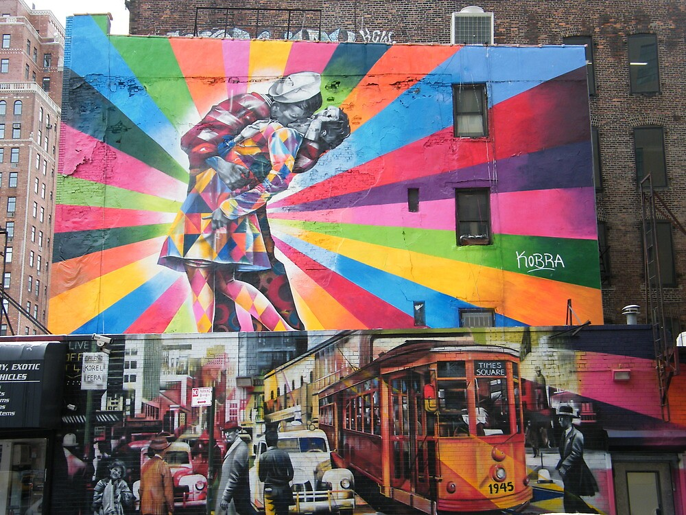 Mural of Vintage Times Square, Chelsea, New York City by lenspiro