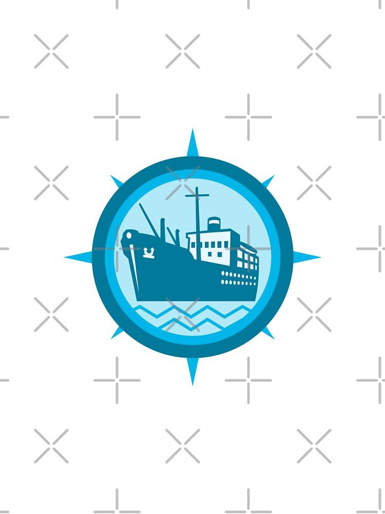 Passenger Ship Cargo Boat Retro  by retrovectors