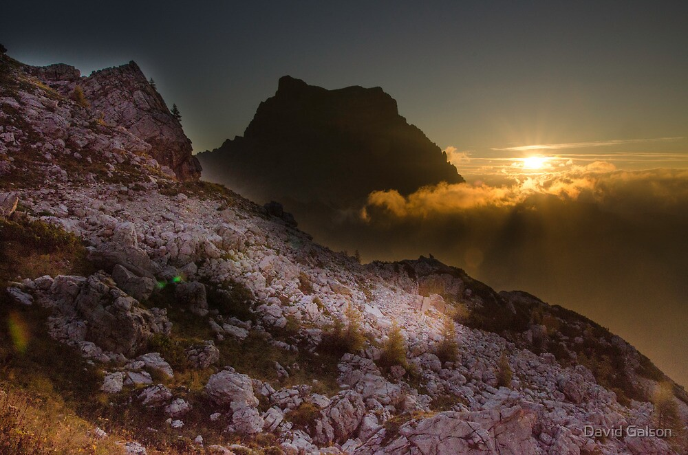Sunset over Dolomites by David Galson