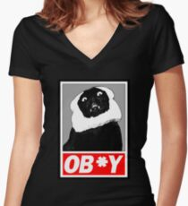 Ob*y breaded cat Women's Fitted V-Neck T-Shirt