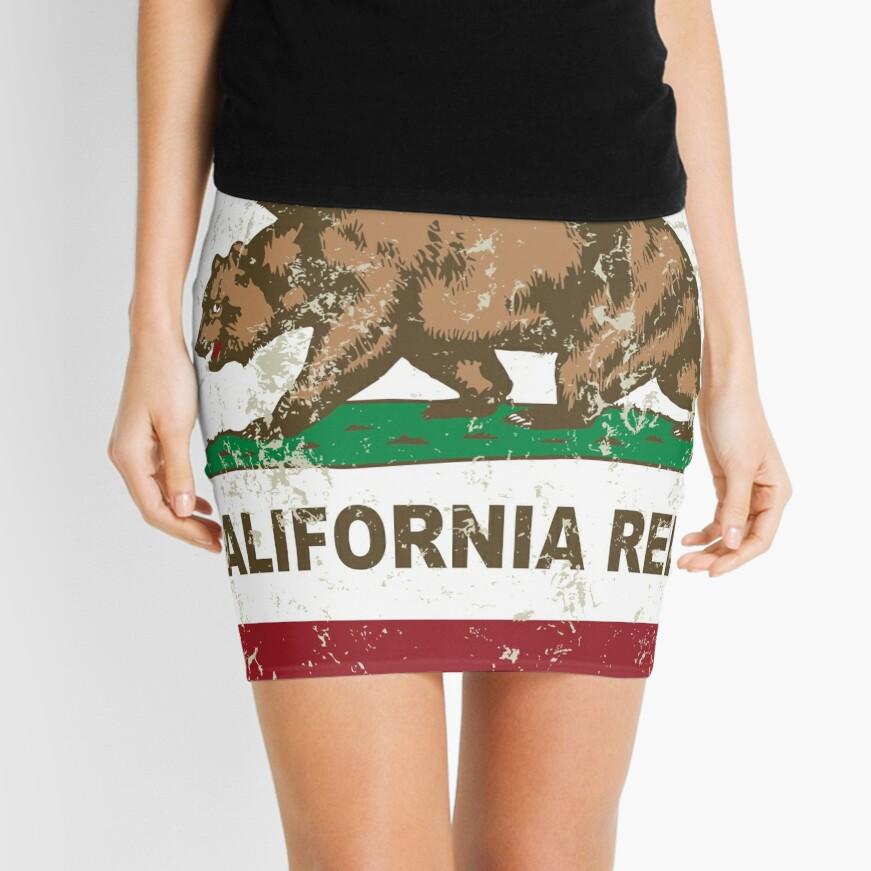 New California Republik Flagge Distressed Minirock