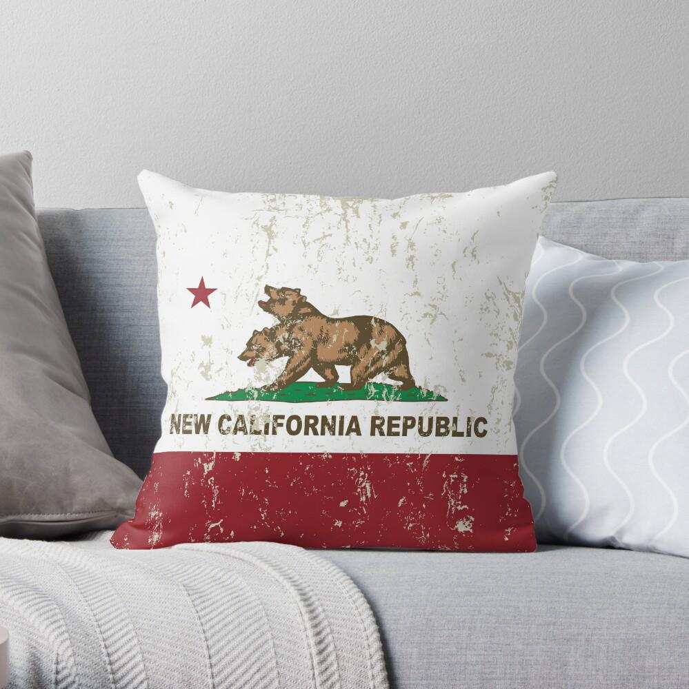 New California Republik Flagge Distressed Dekokissen