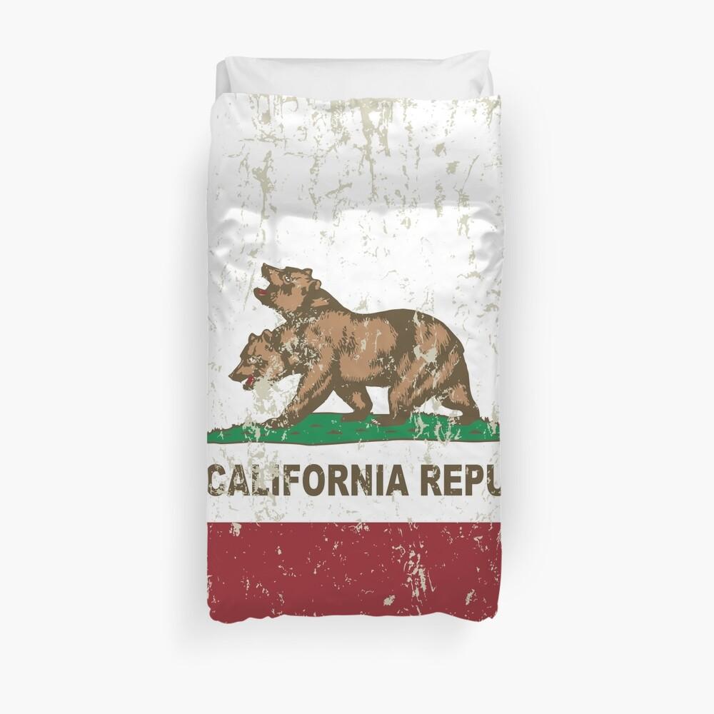 New California Republik Flagge Distressed Bettbezug