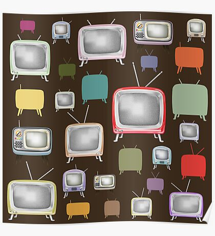 vintage television pattern Poster