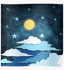 moon and cloud Poster