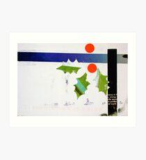 Holly and blue ribbon Art Print