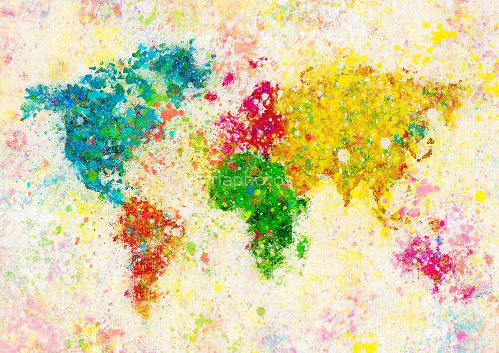 world map painting by naphotos