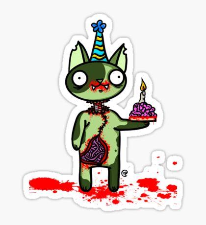 Zombie Birthday Cat with Brain Cake Sticker