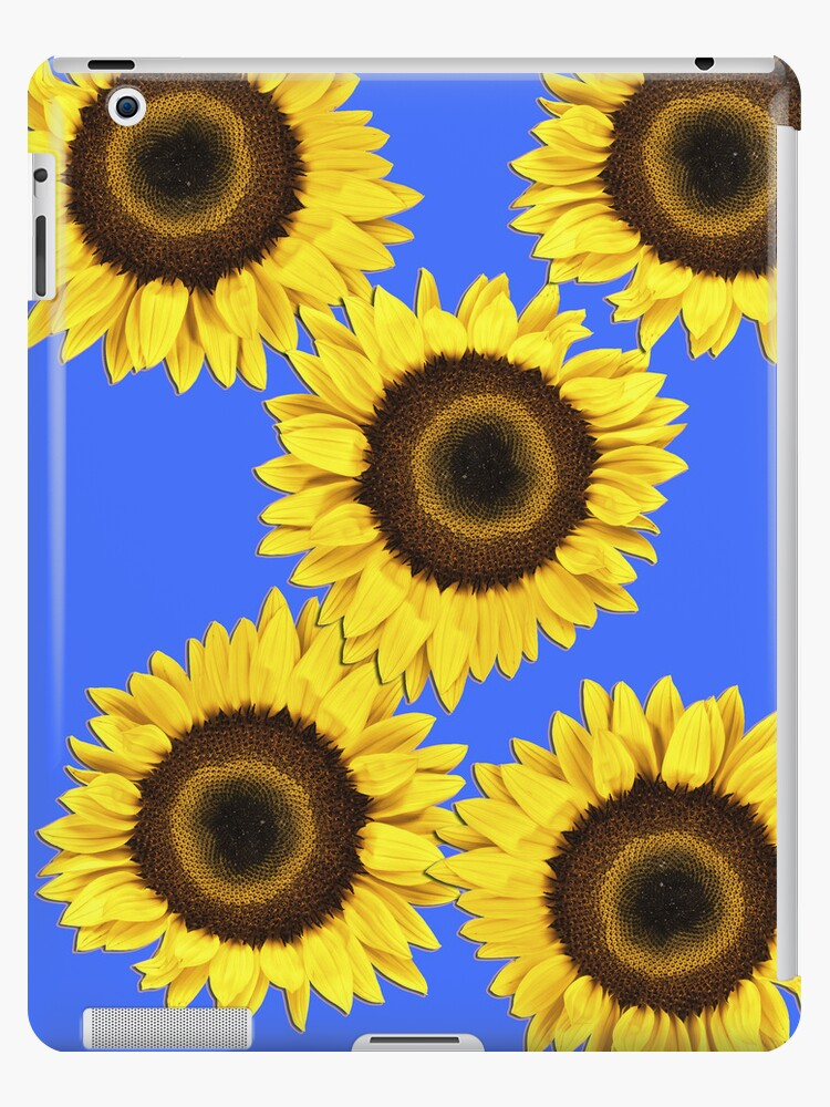 Ipad case - Sunflowers Mid Blue by mpodger