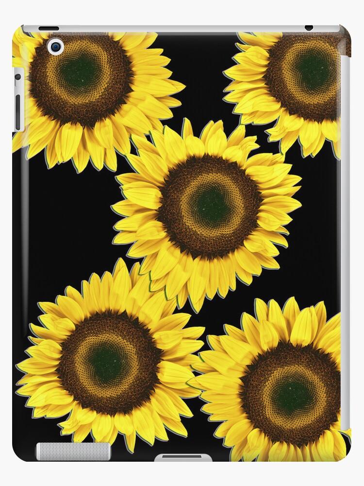 Ipad case - Sunflowers Midnight Black by mpodger