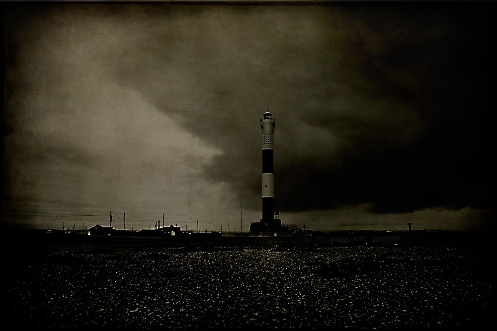 Lighthouse In A Storm by Dave Godden