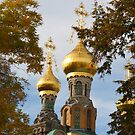 Golden domes between leaves by christopher363