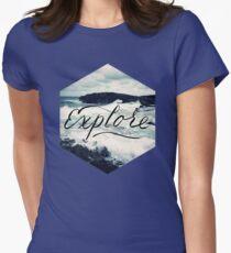 Explore Beach Wave Ocean Typography Photo T-Shirt