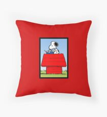snoopy writer Throw Pillow