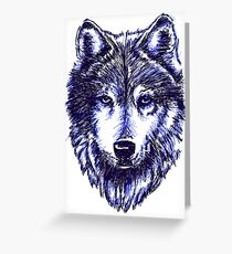 Timber Wolf - Blue Greeting Card