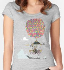 Riding A Bicycle Through The Mountains Women's Fitted Scoop T-Shirt