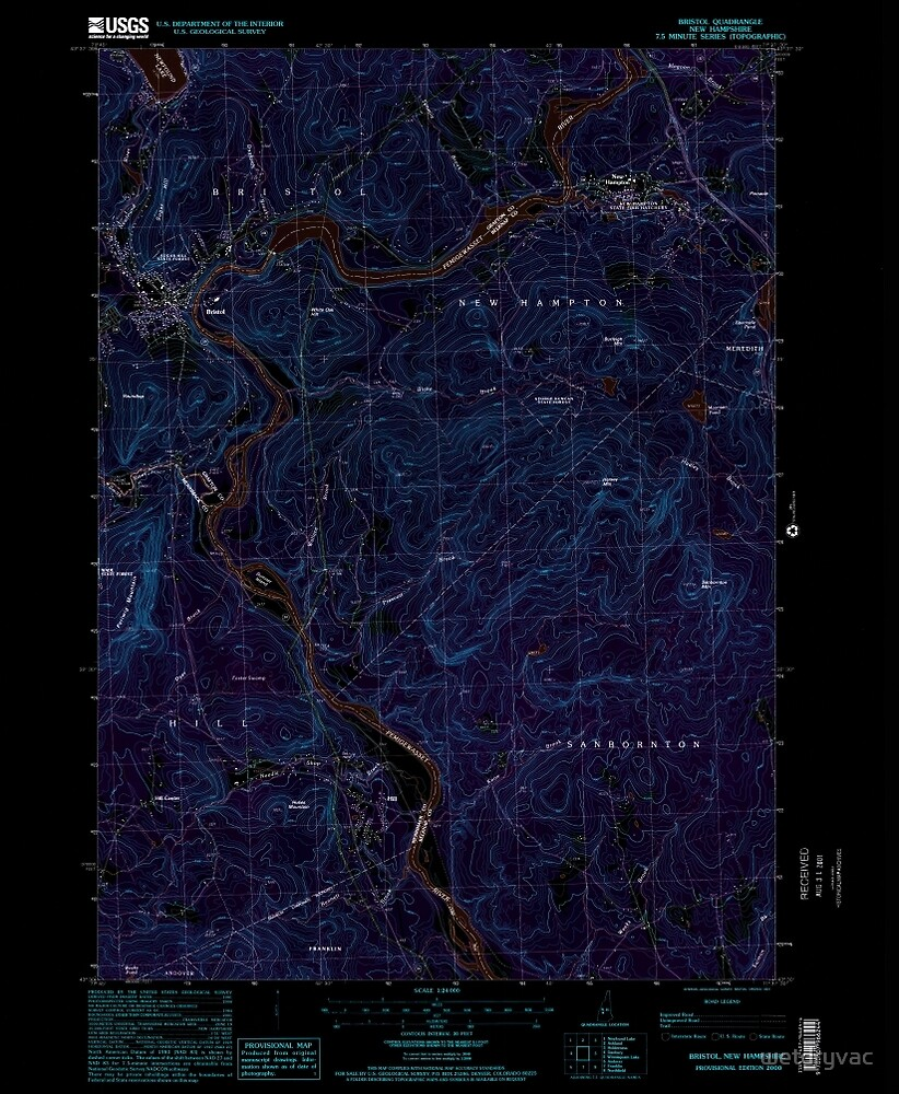 USGS TOPO Map New Hampshire NH Bristol 329491 2000 24000 Inverted by wetdryvac