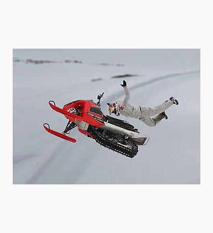 Snowmobile Tricks Photographic Print
