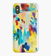DONT QUOTE ME Whimsical Rainbow Ikat Chevron Abstract Acrylic Painting Magenta Plum Turquoise Gift iPhone Case