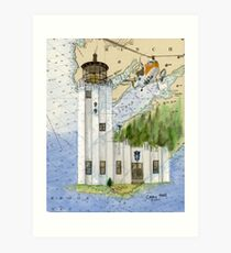 Cape Hinchinbrook AK Lighthouse USCG Helicopter Art Print