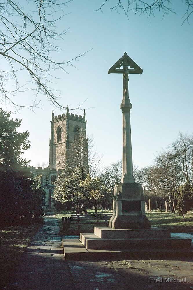 Crucifix in graveyard St Oswald's Durham 19810104 0025m  by Fred Mitchell