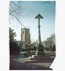 Crucifix in graveyard St Oswald's Durham 19810104 0025m  Poster