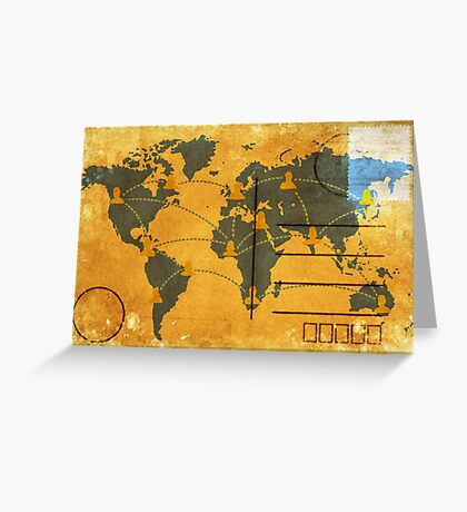 world map on old postcard Greeting Card