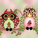 Mr and Mrs Christmas Sweets Owls by Concetta Kilmer