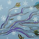 tumbling flakes on wintery trees by Hannah STICKNEY
