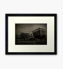 Boat Wreck And Pots Framed Print