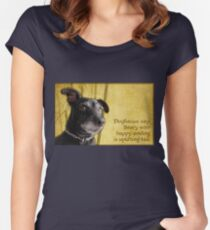 Dogfucius say: Story with happy ending is uplifting tail. Women's Fitted Scoop T-Shirt