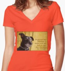 Dogfucius say: Whether to shake with left foot... Women's Fitted V-Neck T-Shirt