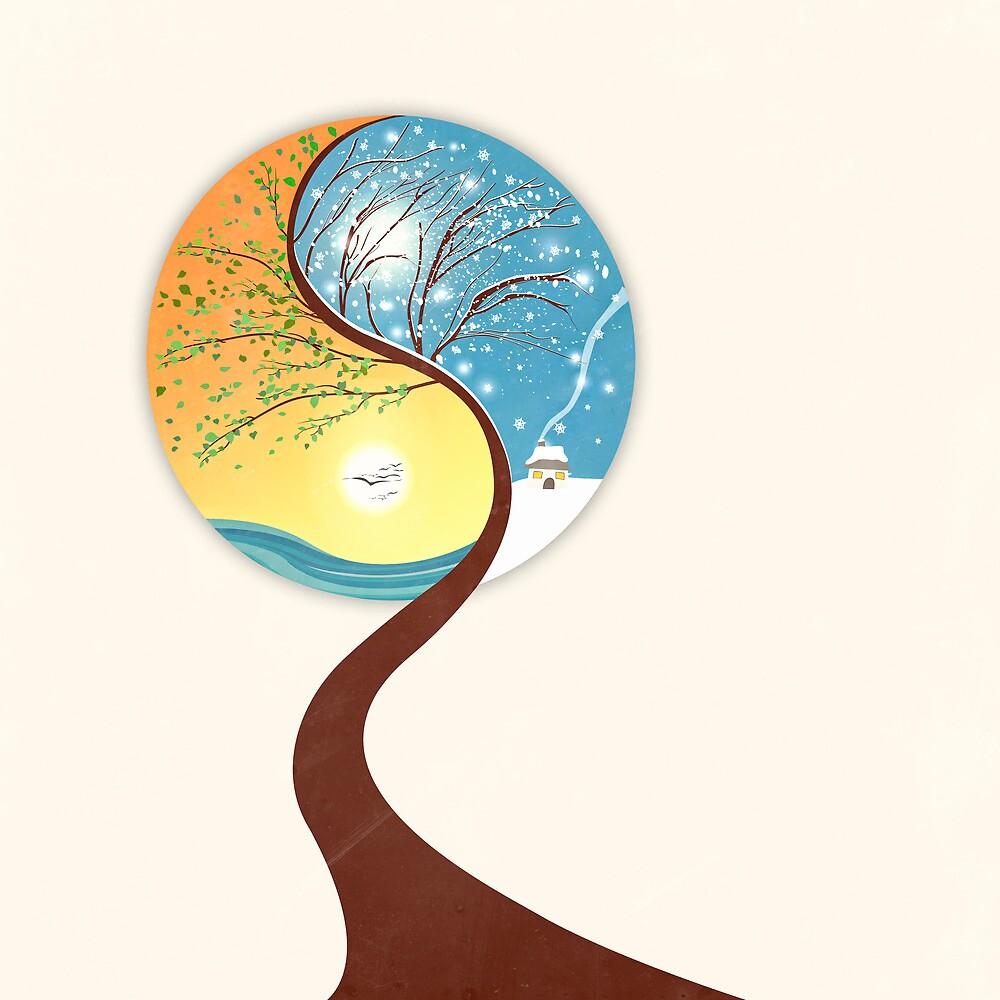 Yin-Yang Tree: Summer-Winter by Paula Belle Flores
