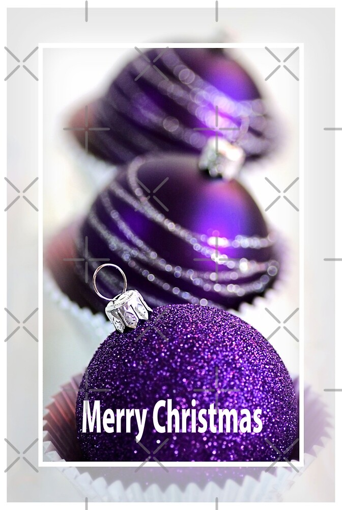 Quot Merry Christmas Purple Baubles Quot By Joy Watson Redbubble