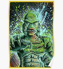Creature from the black lagoon art print halloween monster movie horror sci fi halloween christmas lake universal monsters film black and white joe badon Poster