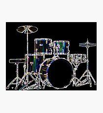 Drum Set 2 Neon Photographic Print