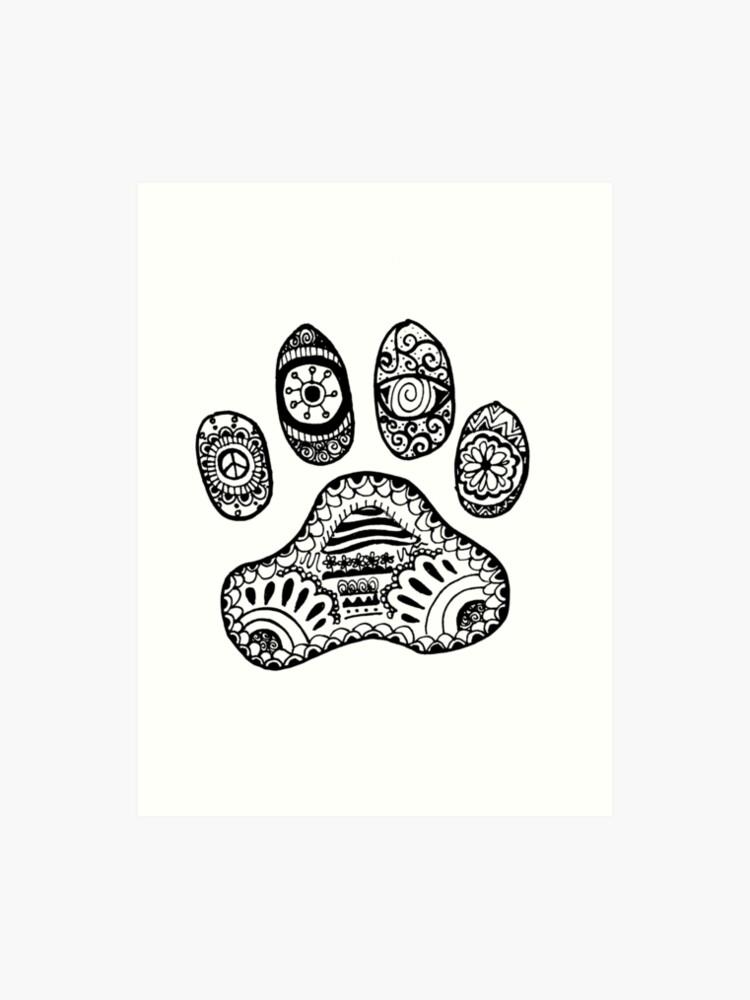 Pfote Tier Zentangle Kunstdruck