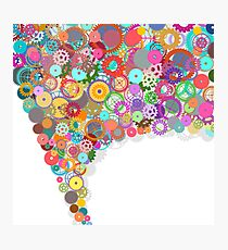 speech bubble design by gears and cogs Photographic Print
