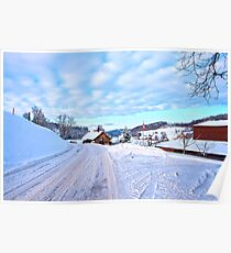 Snowy Swiss countryside near Lucerne, Switzerland. Poster