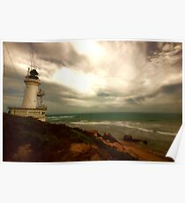 Stormy skies, Lighthouse - Queenscliffe Poster