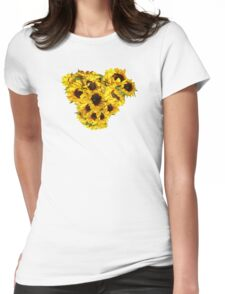 Sunflower Heart Womens Fitted T-Shirt